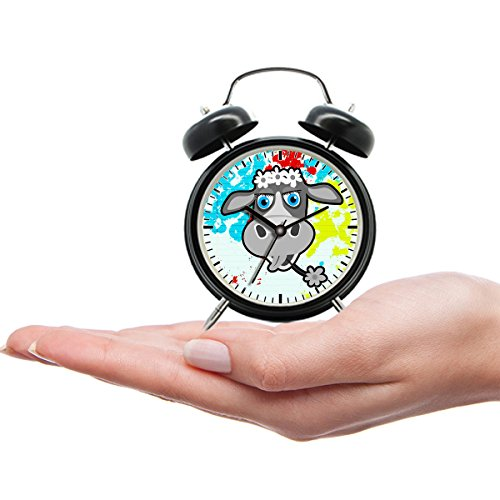 kind draagbare tiener mini schattig Twin bel analoge alarm klok cadeau met aangepaste cartoon -070 Cartoon koe