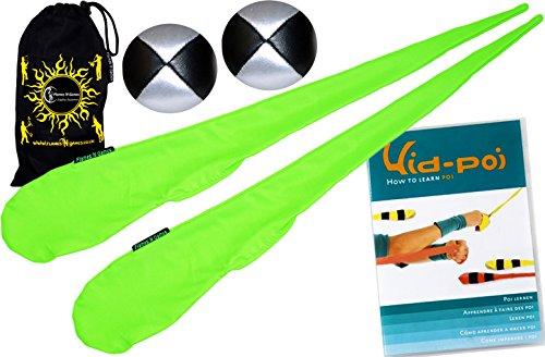 Flames N Games Pro Socken-Poi (UV Grun) Set + Kid Poi DVD (in Deutsch) Sock Poi (inkl. 2x Beanbags Bälle) & Reisetasche. Swinging Poi und Spinning Pois! Pois für Anfänger und Profis.
