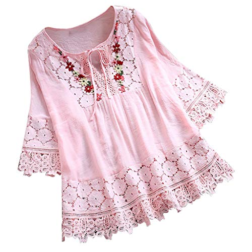 Plus Size Blouse Women Vintage Lace Patchwork Bow V-Neck Embroidery Summer Three Quarter Retro Solid Tops T-Shirt S-5XL Pink