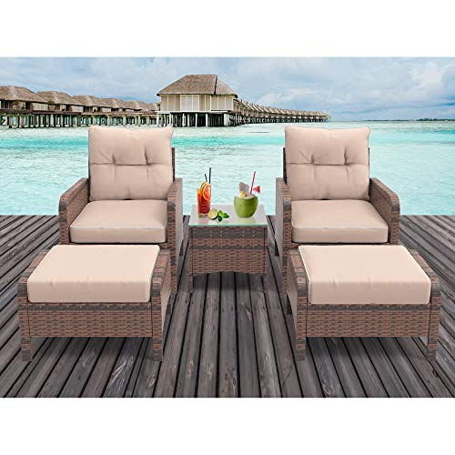 HEYNEMO 5 Piece Outdoor Patio Conversation Furniture Sets with Glass Coffee Table and Ottomans, All Weather PE Rattan Wicker Cushioned Sectional Patio Sofa Chair Sets, Dark Coffee