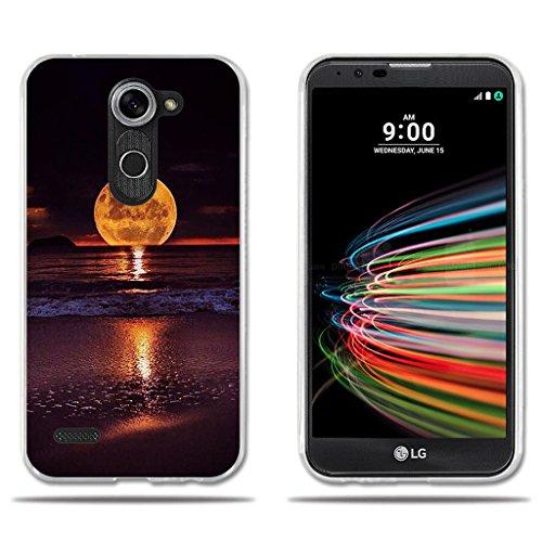 FUBAODA für LG X mach/X Fast/K600 Hülle, [Mond] Transparente Silizium Clear TPU 3D zeitgenössische Chic Kreative Minimalistische Nette Eule Design Schock Absorbing für LG X mach/X Fast/K600