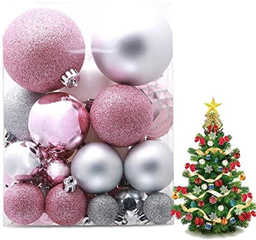 JYHZ Decoraciones navideñas, 50 Piezas de Adornos de la Bola de Navidad, Bolas de Colores de la Navidad, Ornamentos de árbol de Navidad, Decoraciones de Fiesta (Color : Pink)