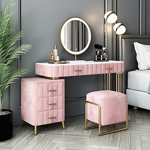 WYJJ Wohnmöbel Mädchen Schminktisch mit beleuchtetem Spiegel, Aufbewahrungsschrank und gepolstertem Hocker, Waschtischset zur Aufbewahrung