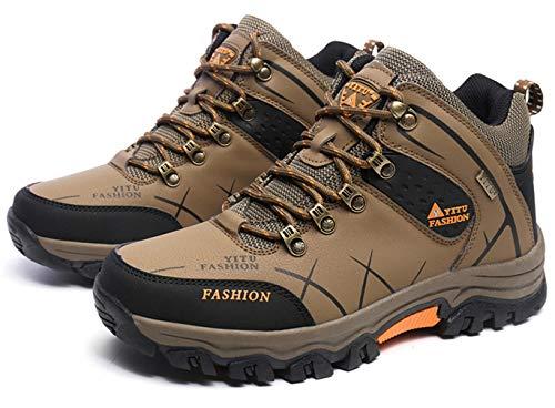 Calzado de senderismo para hombres, botas de trekking antideslizantes, zapatillas impermeables de caña alta, talla 39, color Marrón, talla 45 EU