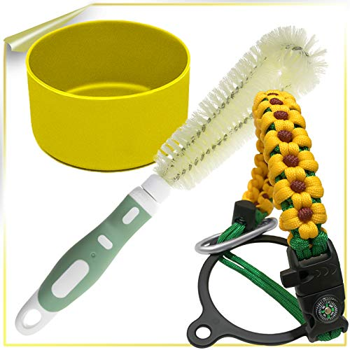 JLuck Paracord Handle for 12oz - 64oz Wide Mouth Water Bottles +Adjustable Cleaning Brush for Cleaning Stubborn Stains+Protective Bottom Boot for 32-40 oz Sports Water Bottle(Yellow+Green+Yellow)