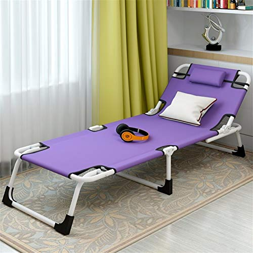 HOUMEL Metal Sun Lounger, Multifunctional Folding Sunbed Outdoor Garden Furniture 190 * 63 * 28cm, Recliners With Backrest 6 Position Adjustment c2022 (Color : Purple, Size : 190CM*63CM*28CM)