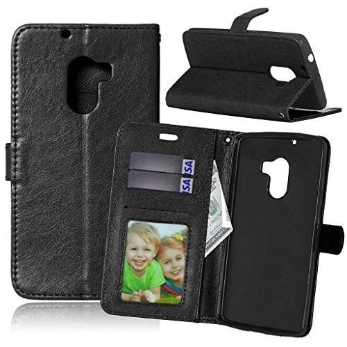 FUBAODA für Lenovo A7010 Hülle, [Kostenlos Syncwire Ladekabel] Flip Leder Money Karte Slot Brieftasche, Klassiker, Ständer, Handyhülle Ledertasche Phone Tasche Hülle für Lenovo A7010 (5.5