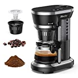 Single Serve Coffee Maker, Sboly Grind and Brew Automatic Coffee Machine, Single Cup Coffee Maker with Coffee Grinder Built-in a 12oz Glass Coffee Pot