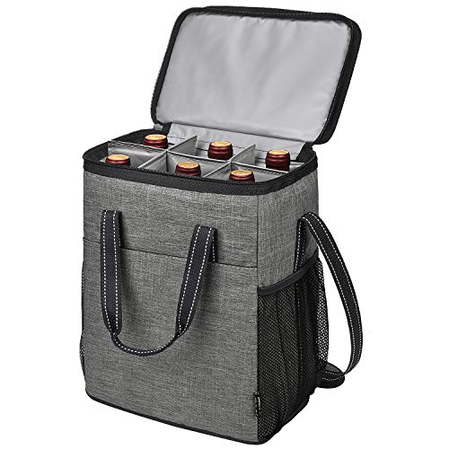 Kato Tirrinia 6 Bottle Wine Carrier, Insulated Leakproof Padded Wine Cooler Bag Portable Carrying Tote Bag for Picnic, Camping and Travel, Perfect Wine Lover Gift, Grey
