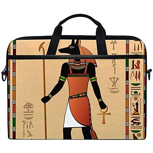 D.T.G Laptop Case Funda para Computadora Portátil,Egipto Murales Anubis Maletín Messenger Bolsa para Computadora Portátil con Asa para El Hombro,14-14.5 Pulgadas