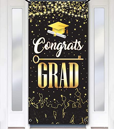 XtraLarge Graduation Door Banner 2021 - No DIY, 74x36 Inch | Black and Gold Graduation Decorations 2021 | Congrats Grad Banner | Graduation Door Sign | Graduation Door Cover for Grad Party Supplies