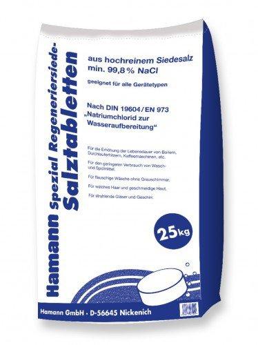 Hamann Salztabletten 25 kg - Wasseraufbereitung Wasserenthärter - Hochwertig & für alle Gerätetypen geeignet