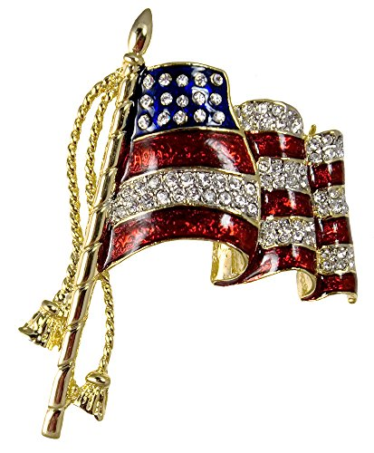 Stars & Stripes Products Elegant Waving American Flag Pin/Brooch, Approx. 2, Pin Back with Safety Lock. Gold-Plate with red and Blue Enamel Background and Diamond-Like Crystals.