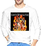 Thimd Earth Wind & Fire Men 's Comfort Camiseta de Manga Larga Suave para Exteriores Camiseta de algodón 100% con Estampado Camisetas Negro