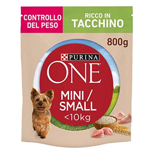 Purina One Mini Crocchette Cane Controllo del Peso Ricco in Tacchino, con Riso, per Cani Fino A 10 kg - 8 Sacchi da 800 g Ciascuno