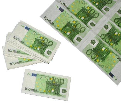 alles-meine.de GmbH Papiertaschentücher 100 Euro € - Note Geldschein Banknoten zum sparen - Taschentuch Taschentücher Spardose