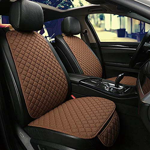 YZLYJL seat cushion Car Accessories Seat Cover, Protector Front Cushion Pad Car seat, Front Rear Back Cushion Pad Mat with Backrest Seat Cushion,coffee 2 seat