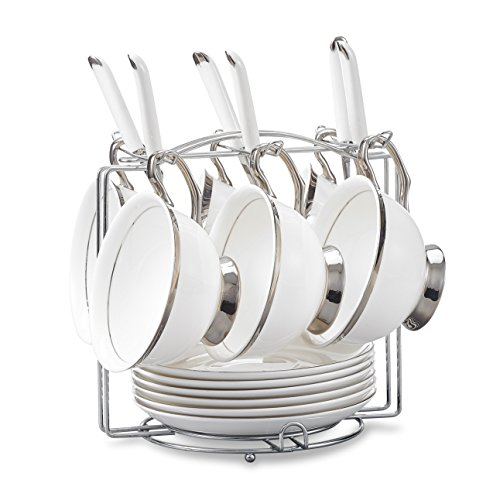 Panbado Cups & Saucers Sets with Spoons and Mug Holder, Ivory White and Silver Patterned Bone China 19-Pieces Set Ceramic Tea Coffee Cup Teacups Porcelain Floral Ceremic Mugs, Serve for 6