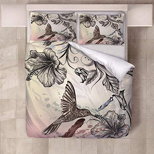 PERFECTPOT Super King Duvet Cover Set Flower Flying Bird Printing Bedding Sets in Polyester with Zipper Closure, 1 Quilt Cover with 2 Pillowcases for Children Boys Girls Adults, 260x220
