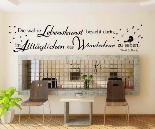 Wandtattoo Spruch wahre Lebenskunst Wandsticker Zitate Zitat Weisheit 5D403, Farbe:Weiß glanz;Breite vom Motiv:250cm