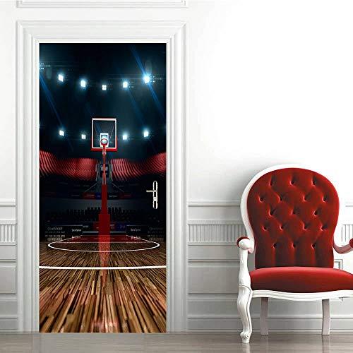 KEXIU 3D Cancha de baloncesto PVC fotografía adhesivo vinilo puerta pegatina cocina baño decoración mural 77x200cm