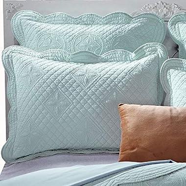 Sage Garden Luxury Pure Cotton Quilted Standard Pillow Sham 20  x 26  By Calla Angel, Light Aqua, Standard