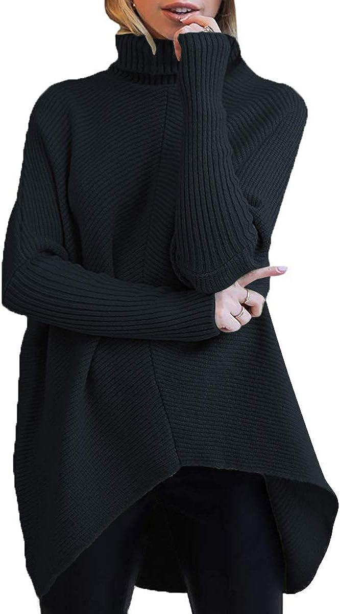 ANRABESS Womens Turtleneck Arlington Mall Daily bargain sale Long Batwing Ca Asymmetric Sleeve Hem