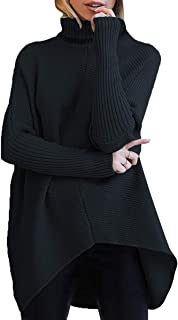 Womens Turtleneck Long Batwing Sleeve Asymmetric Hem...
