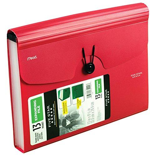 Five Star Expanding File Folder, 13-Pocket Expandable File Folder, Red (38145) Photo #4