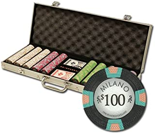 Claysmith Gaming 500 Count Milano Poker Set - 10 Gram Premium Casino Grade Clay Chips with Aluminum Case, Playing Cards, Dealer Button for Texas Hold'em, Blackjack, Casino Games