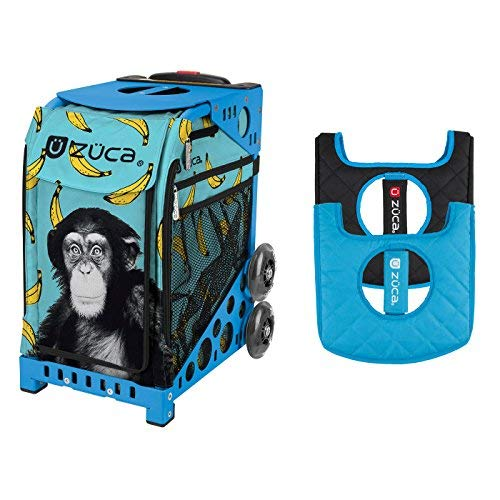 ZUCA Monkey Business Sport Insert Bag with Sport Frame & Blue/Black Seat Cushion Bundle (Blue)