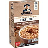 Ingredients: whole grain steel cut oats, brown sugar, salt, cinnamon, natural flavor, spices Made from 100% natural, whole grain Quaker oats 180 calories per serving 3 grams of fiber, 4 grams of protein No trans fats