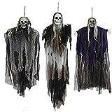 JOYIN 3 Pack Hanging Halloween Skeleton Ghosts Decorations, Grim Reapers for Best Halloween Outdoor Decorations