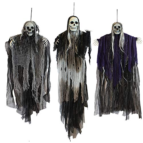 JOYIN 3 Pack Hanging Halloween Skeleton Ghosts, Grim Reapers for Best Halloween Decorations
