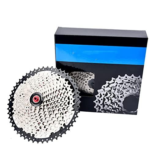 Casete 8 9 10 11 12 velocidades,Cassette de Bicicleta de Velocidad,Volante de Cassette de Bicicleta de montaña Ahuecado Ultraligero, para Bicicleta MTB,9 Speed Silver,11~50T