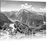 Pixxprint Königssee in Bayern als Leinwandbild   Größe: 120x80   Wandbild  Kunstdruck   fertig bespannt