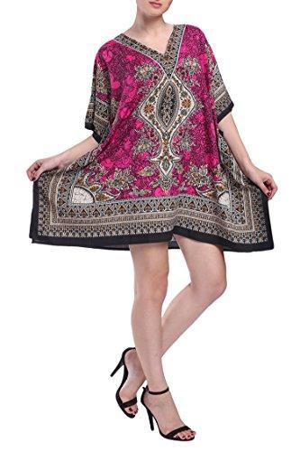 Miss Lavish Damen Kaftan Tunika Kimono Kleid Sommer Abend Übergröße Strand Cover Up 10-24 - Pink - Einheitsgröße
