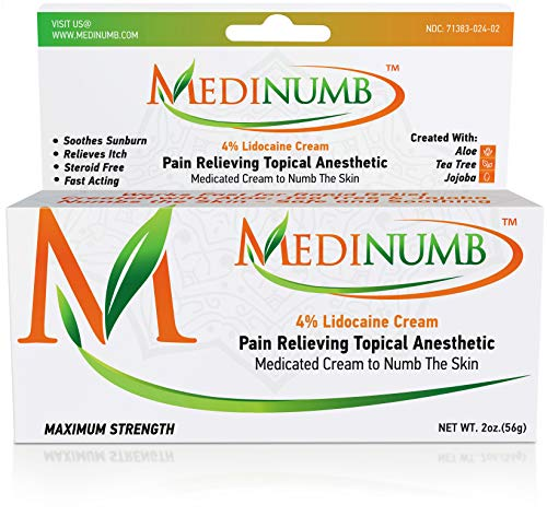 Medinumb Lidocaine Numbing Cream (2oz/56g) Topical Anesthetic - Waxing, Laser, Electrolysis & Tattoos - Soothing Aloe, Jojoba, Tea Tree - USA Made- Child Resistant Cap