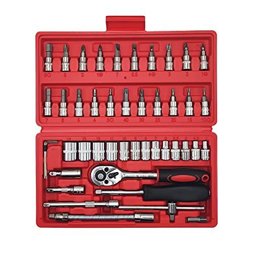 Maletin herramientas profesional,juego llaves carraca 1/4,Llave de Carraca ReversibleLlaves de vaso Torx Juego, Aleado S2,Para Reparar Motocicletas, Bicicleta, Muebles (46 PCS)