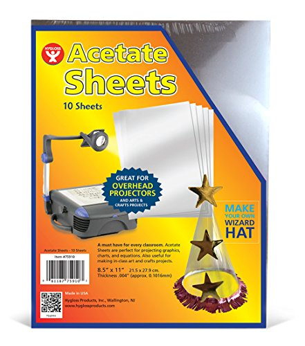 "Hygloss Products Overhead Projector Sheets Acetate Transparency Film, For Arts And Craft Projects and Classrooms, Not for Printers, 8.5"" x 11"", 10 Sheets"