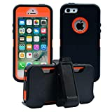 AlphaCell Cover Compatible with iPhone 5 / 5S / SE (2016)| 2-in-1 Screen Protector & Holster Case | Full Body Military...