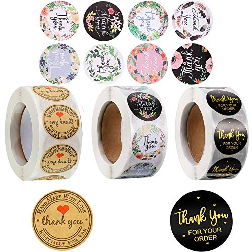 2000 Pieces Thank You Stickers,18 Designs 1 Inch Thank You Sticker Roll, Thank You for Supporting My Small Business Stickers for Envelopes, Bubble Mailers and Bags (4 Rolls, 500 Labels Per Roll)
