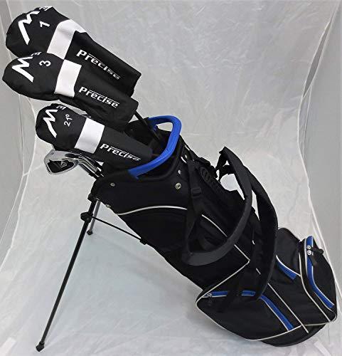 "Tall Mens Golf Set Complete - Right Handed Driver, Fairway Wood, Hybrid, Irons, Putter, Stand Bag Clubs +1"" Length Regular Flex"