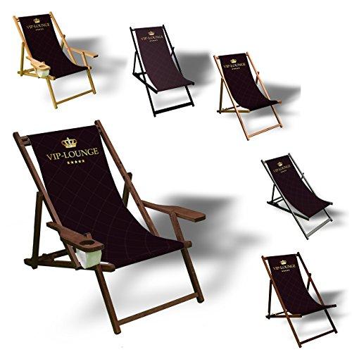 Printalio - VIP - Liegestuhl Bedruckt Balkon Garten Sonnenliege Relax Holz Terrasse | mit Armlehne, Dunkelbraun
