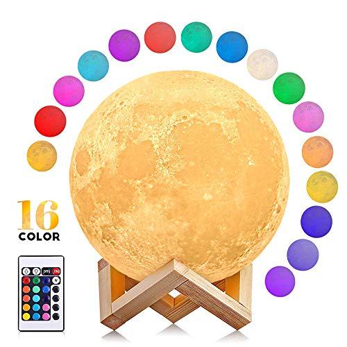 Myyyi Maan-lamp, 16 kleuren, LED maanlicht, Touch & afstandsbediening en USB, oplaadbaar, 5,9 inch, maan, nachtlampje