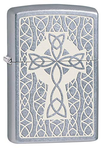 Zippo Lighter: Celtic Cross Engraved - Street Chrome 80634