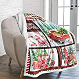 Christmas Blanket Twin Red Truck Christmas Tree Printed Beddin Sherpa Blanket Fuzzy Push Throw Blanket for Bedding Couch Holidays Travel Gifts 60x80 inches