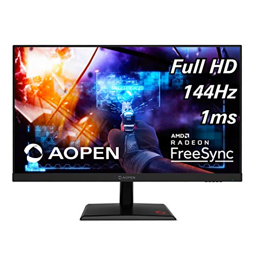 AOPEN 25MH1Q Pbipx 24.5' Full HD (1920 x 1080) TN Gaming Monitor with AMD Radeon FreeSync Technology, 144Hz, 1ms, (HDMI & Display Port), Black, FHD (1920x1080) 165Hz