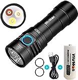 Wurkkos Linterna multifuncional, 3 tipos de fuente de luz LED, color blanco, rojo y UV, alta 90 CRI con puerto USB recargable y indicador de alimentación compatible con pilas 26650