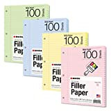 Kaisa Filler Paper Colored loose Leaf Paper, Wide Ruled 8x10.5in Colored Paper, 3-Hole Punched for 3-Ring Binders,100Sheets/pack 4Packs, FC10001W